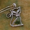 Sterling Silver Four Leaf Clover Crystal Cat Pendant Necklace