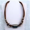 Tan Leather Big Silver Beads Necklace