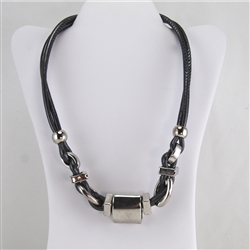 Gray Leather and Silver Bead Modern Necklace