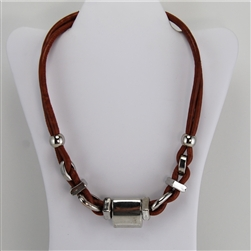 Brown Leather and Silver Bead Necklace