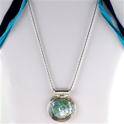 Unique Roman Glass Pendant Necklace with Sterling Silver