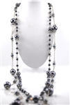 Silver Black Pearl Crystal Bead Long Necklace