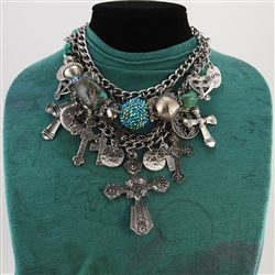 Silver Turquoise Crosses Bead Collage Necklace
