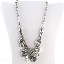 Silver Charm Pearl and Crystal Necklace