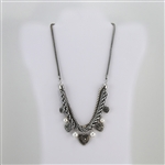 Pearl and Crystal Charm Silver Bib Necklace