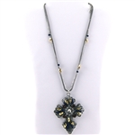 Silver Cross Necklace with Crystals, Beads and Multiple Chains