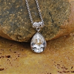 Rhodium Plated Necklace with Swarovski Crystal Teardrop Pendant