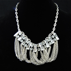 Crystal Silver Chain Bib Necklace