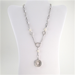 Swarovski Crystal Circle Pendant Rhodium Necklace