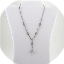 "Multiple Link Rhodium ""Y"" Necklace with Swarovski Crystals"