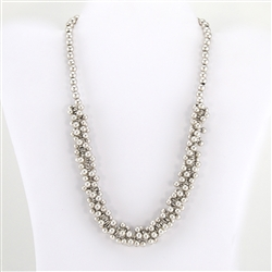 Silver Bead Necklace with Medallion Clasp