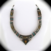 Tibetan Necklace with Turquoise, Copal, Coral Stone, Brass and Silver