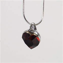 Red Swarovski Crystal Heart Pendant with Silver Necklace