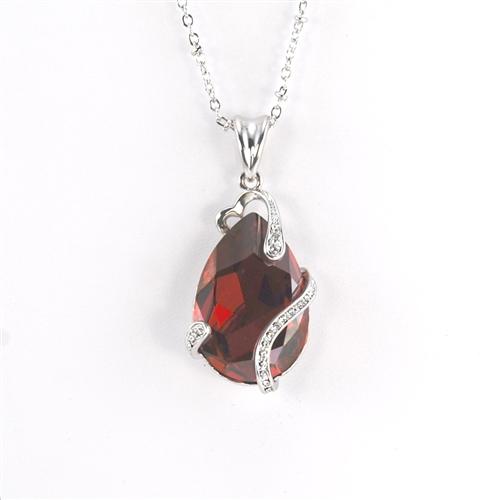 Pantano guisante Buen sentimiento  Red Swarovski Teardrop Rhodium Pendant NecklaceAmber Earrings |  FashionJewelry.com