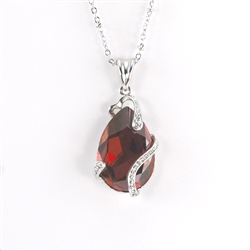 Red Swarovski Teardrop Rhodium Pendant Necklace