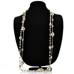 Champagne Pearls Crystal Double Strand Necklace