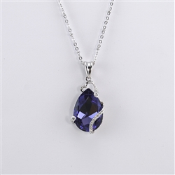 Purple Swarovski Teardrop Rhodium Pendant Necklace