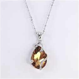 Gold Swarovski Teardrop Rhodium Pendant Necklace