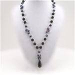 Pearl Onyx Silver Drop Pendant Necklace