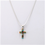 Turquoise Coral Onyx Cross Pendant Sterling Silver Necklace