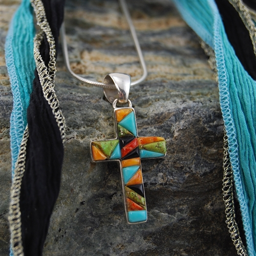 Turquoise coral onyx cross pendant sterling silver necklace our aloadofball Image collections
