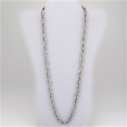 Long White Gold Bonded Chain Necklace with Cubic Zirconia