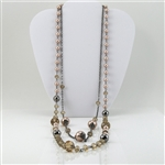 Champagne Crystal Pink Pearl Silver Bead Double Necklace