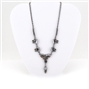 "Smoky Crystal Oxidized Silver Choker ""Y"" Necklace"