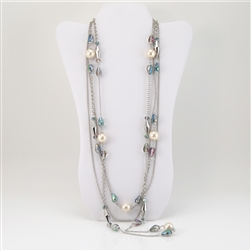 Crystal and Pearl Beads on Silver Multi-Strand Necklace