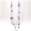 Silver Gold Tone Crystal Bead Necklace