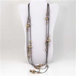 Gold, Pearl and Crystal Bead Necklace on a Quadruple Chain