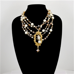 Gold Pearl Amber Bead Vintage Clock Collage Necklace