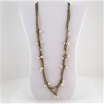 Antiqued Gold Multiple Strand Necklace with Pearl and Crystal