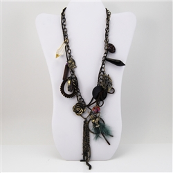 Charm Necklace Leaf Feather Bird Beads Brass