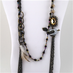 Multi-Strand Bird Topaz Bead Necklace