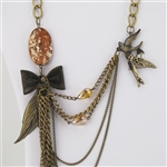 Feather Stone Bird Bow Leaf Brass Bib Necklace