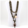 Swan Beads Brass Multi Strand Necklace