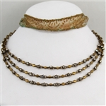 Brass Crystal Triple Chain Bib Necklace