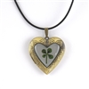 Real Four Leaf Clover Heart Locket Pendant Necklace