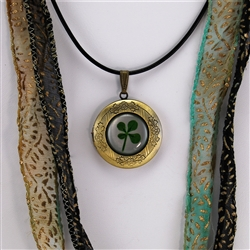 Real Four Leaf Clover Keepsake Pendant Necklace