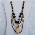 Brass Silver Gold Bone Bead Bib Necklace