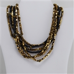Brass Dark Blue and Gold Bead Multi-Strand Necklace