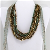 Brass Turquoise Bead Mulit-Strand Necklace with Wood Clasp