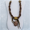 Brass Chain Bronze Leather Necklace