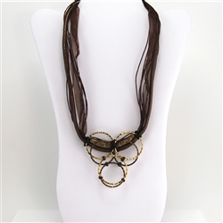 Bronze Leather Cord Bib Necklace with Brass Rings