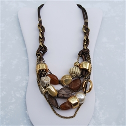 Bronze Leather Brass Amber Pearl Bead Bib Necklace