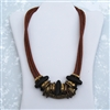 "Brass Beads, Brown Leather 24"" Necklace"
