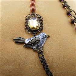 Brass Chain Feather Leather Bird Bead Necklace