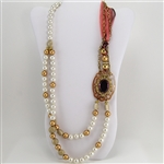 Brass Pearl Raspberry Medallion Bead Ribbon Necklace