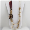Brass Pearl Gold Red Bead Silk Ribbon Necklace